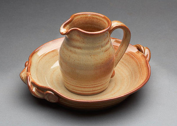 ceramic pitcher and plate