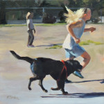 From our small painting collection: 'Dog Park' by Kaethe Bealer, acrylic, 8 x 8, $200.