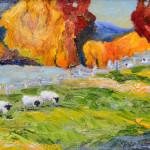 Sheep Open Space, oil  by JoAnn Hanna