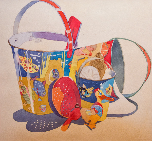 Sand Pails,  25 x 32 water color by Sarah Gross