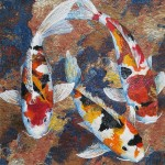 Calico Koi, mixed media, by Denise Oyama Miller