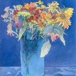 Bouquet in Blue, watercolor by Sarah Gross