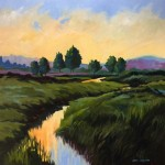 Evening Marsh 36 x 36  acrylic by Ellen LaVaccare