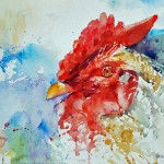 Year of the Rooster, watercolor by Leslie Wilson