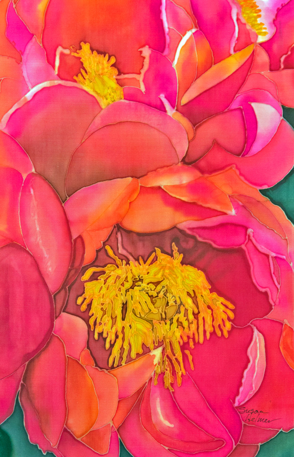 Pretty in Pink, 24 x 36 painted silk