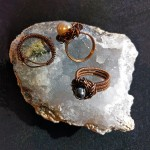Bird nest rings hand crafted in copper by Carolyn Russell