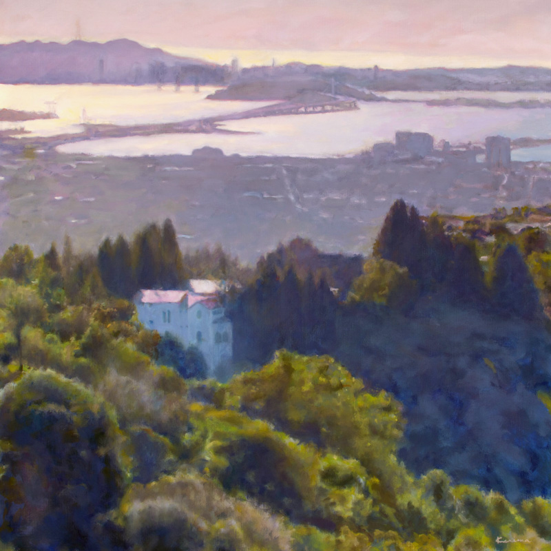 Sunset San Francisco Bay, oil by Kerima Swain