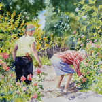 Tending the Garden at Blake House, Kensington, a watercolor by Catherine McCargar