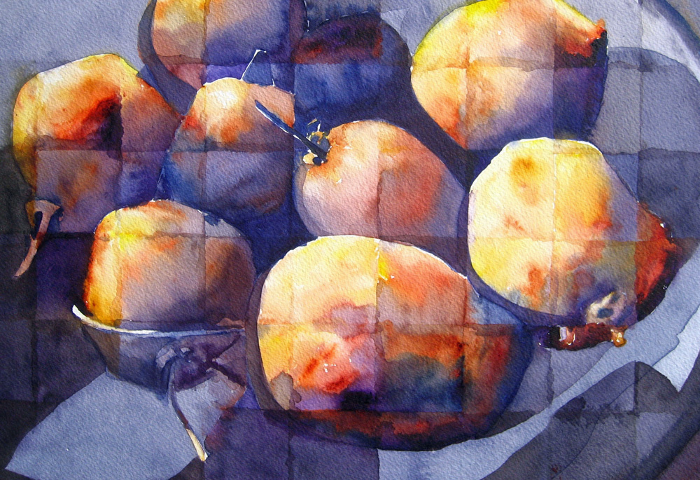 Cubed Kiwis. 17 x 21 watercolor by Iretta Hunter